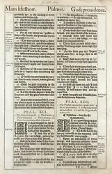 1611 King James Bible Leaf - Ps 91 His Angels Charge Over Thee - And039heand039 Bible