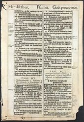 1611 King James Bible Leaf - Ps 91 His Angels Charge Over Thee - And039sheand039 Bible. 2