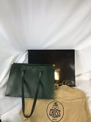 Vintage Mark Cross leather bag Made In Italy Hunter Green. New. $700.00