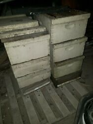 2 Complete Langstroth Bee Hive 6-box 57-frame 2-top/bottom Smoker Queen Excluder