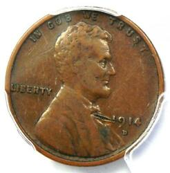 1914-d Lincoln Wheat Cent 1c - Certified Pcgs Vf Details - Rare Key Date Penny