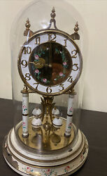 Vintage Heco 400 Day Anniversary Clock With Glass Dome For Parts Not Working