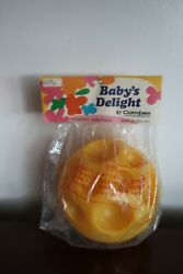 Vintage Combex Made In England Baby Toy Baby's Delight Yellow Squeeky Ball 1969