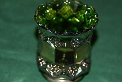 vintage Toothpick Holder Green Carnival Glass Imperial Glass Co.