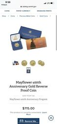 Confirmed Mayflower 400th Anniversary Gold Reverse Proof Coin
