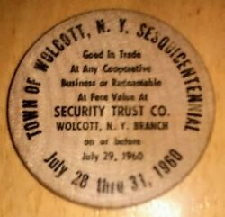 Vintage Wolcott Ny 1960 Sesquicentenial Commemorative Wooden Nickel Exc Cond