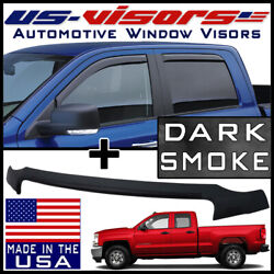 Us-visors 2016-18 Silverado 1500 Double Cab Vent Visors In-channel And Bug Shield