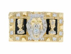 10k Or 14k Two Tone Gold Powerful Lion And Egyptian Queen Cz Two Finger Ring