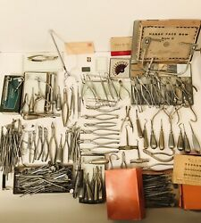 Giant Antique Dental Tool Equipment Lot Life Collection Milk Glass Trays