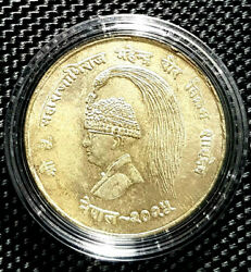 Ad 1968 Nepal 10 Rupee Silver Coin Km794 Andoslash32mm+free1 Coin11125