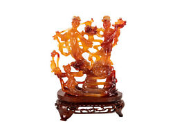 China 20. Century One Chinese Group Of Figurines From Carnelian Xiwangmu And