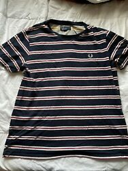 FRED PERRY navy striped T Shirt Red White Blue LARGE mens Mod $13.00