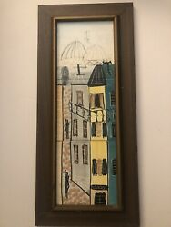 Harris G.strong Mid Century Modern Ceramic Wall Piece With Vintage Frame