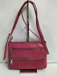 Hobo Red Berry Leather Crossbody Bag with Outside Zipper Pockets Small $45.00