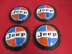Set Of 4 Good Used Center Cap Blue Red 69 70 71 72 73 Jeep 15 Hubcap