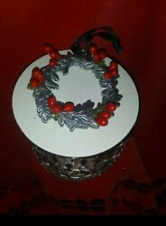 CANDLE Lid TOP SILVER WREATH WITH HOLIDAY DECOR for BATH amp; BODY WORKS 3 wick