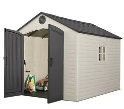 Lifetime Tool Shed Big Outdoor Plastic 8and039 X 10and039 Lawn Garden Tractor Storage