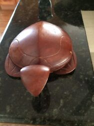 Vintage Wooden Rare Turtle With Top For Cigarettes Matches 7 1/2 X 10 1/2 1960's