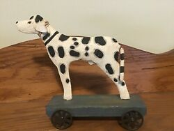 Wood And Metal Spotted Dog Pull Toy Farmhouse Folk Art Decor