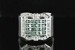 6250 Menand039s 14k White Gold 1.60ct Blue Round Diamond Cocktail Ring Band 8.25