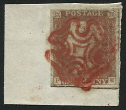 Sg8l 1d Red Brown Plate 8 Pe 4 Large Margins Tied To Piece With Bright Red