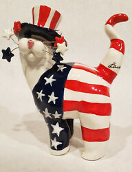 2001 LACOMBE PATRIOTIC CAT with RED WHITE BLUE STRIPES USA July 4th