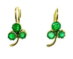 Antique 9k Rose Gold And Emerald Three Leaf Clover Earrings Circa 1900s