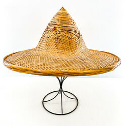 Vintage Asian Conical Hat Woven Bamboo Straw Coolie Rice Paddy Farmer