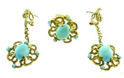 Brutalist 14k Yellow Gold And Turquoise Ring And Drop Earrings Set Circa 1960s