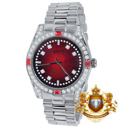 Mens Full Steel Ruby Red Face White Tone Simulated Diamond President Watch 40mm