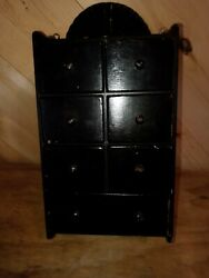 Vintage Wooden 7-drawer Hanging Spice Box Or Apothicary Cabinet Scalloped