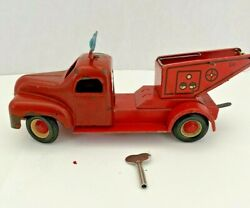 Rare Ussr Russian Soviet Vintage Tin Wind Up Fire Engine / Tow Truck With Key