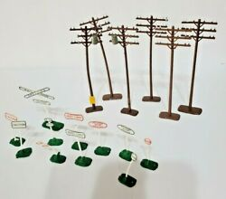 Model Train Set Vintage Style Railroad Crossing Signs And Telephone Poles