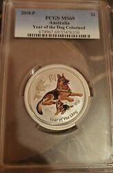 2018 Pcgs Ms 69 Colorized Year Of Dog Australia 2 Coin 2 Ounces .9999 Silver