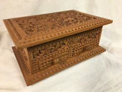 Vintage Spanish Colonial Style Carved Wood Jewelry Box Prob. S Mexico Late 1900s