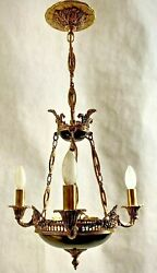 Vintage Neoclassical Style Empire 3-lights Solid Brass Chandelier Made In Spain
