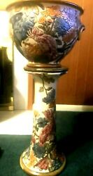 Rare Weller Art Pottery Woodcraft Parrot And Foliage Colorful Jardinere And Pedestal