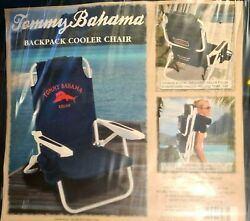 Tommy Bahama Backpack Cooler Chair with Storage Pouch and Towel Bar Blue Red NEW $88.00