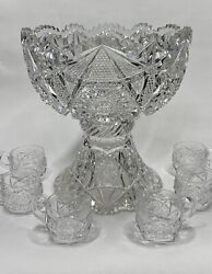 Two Part 12 American Brilliant Cut Glass Punch Bowl And Stand W/ 6 Cups