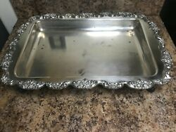 Vtg Epca Lancaster Rose Poole Silver Plated Footed Buffet Serving Tray Platter