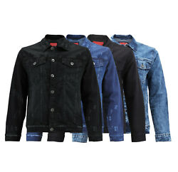 Menandrsquos Casual Distressed Trucker Denim Classic Button Up Stretch Jean Jacket