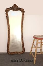 Vintage French Provincial Tall Wall Mantle Gold Mirror By Bombay Furniture Co