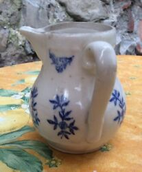 Antique 1800s French Ironstone Creamer St Uze White Blue Floral Ceramic Coffee