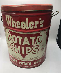 Vtg Wheeler's Potato Chips Large Tin Metal Can Youngstown Ohio Red White + Lid