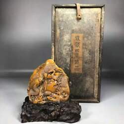 Chinese Natural Shoushan Stone Hand Carved Dragon And Phoenix Statue Seal 1214