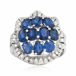 Vintage Sapphire And Diamond Cluster Ring In Platinum Size 6