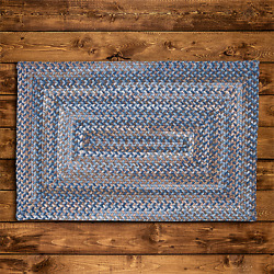 Gloucester Wool Laguna Multi Country Farmhouse Concentric Rectangle Braided Rug