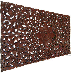 Headboard Balinese Floral Tropical Carved Wood Wall Panel.size 27x48dark Brown