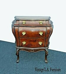 Antique Italian Bombe Bombay Side Table Nightstand Wrapped In Leather