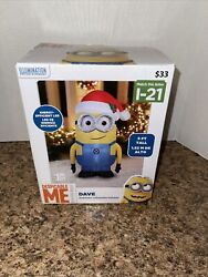 Despicable Me Dave Minion Airblown With Santa Hat Christmas Gemmy 5 Ft Tall